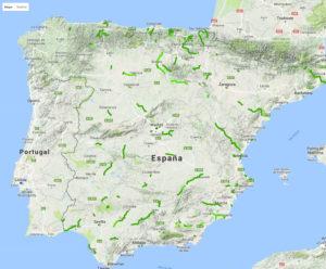 Mapa con las Vías Verdes españolas.